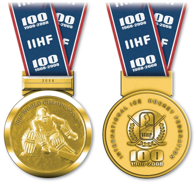 Retro-look gold medal of the 2008 IIHF World Championship in Quebec City and Halifax, Canada. Photo source to write: IIHF.com